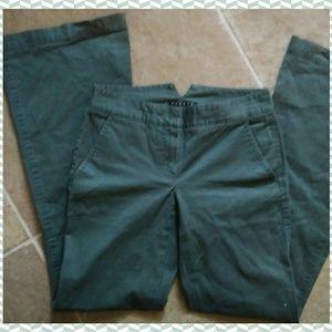 theory wide leg dark green mid rise cotton pants